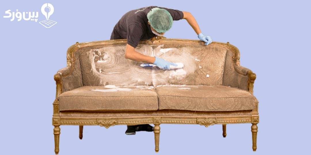از بین بردن لکه رنگ از روی مبل با مایع ظرف شویی