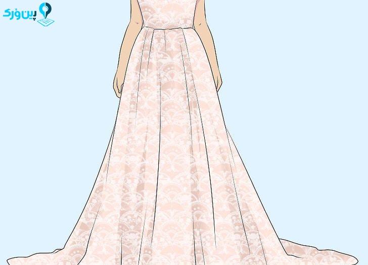 لباس عروس با طرح مورب